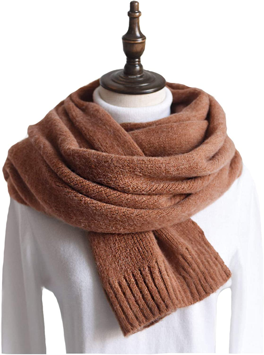 Women Knit Scarf, Faurn Thick Warm Soft Simple Neck Scarves Lambswool Pashmina Feel