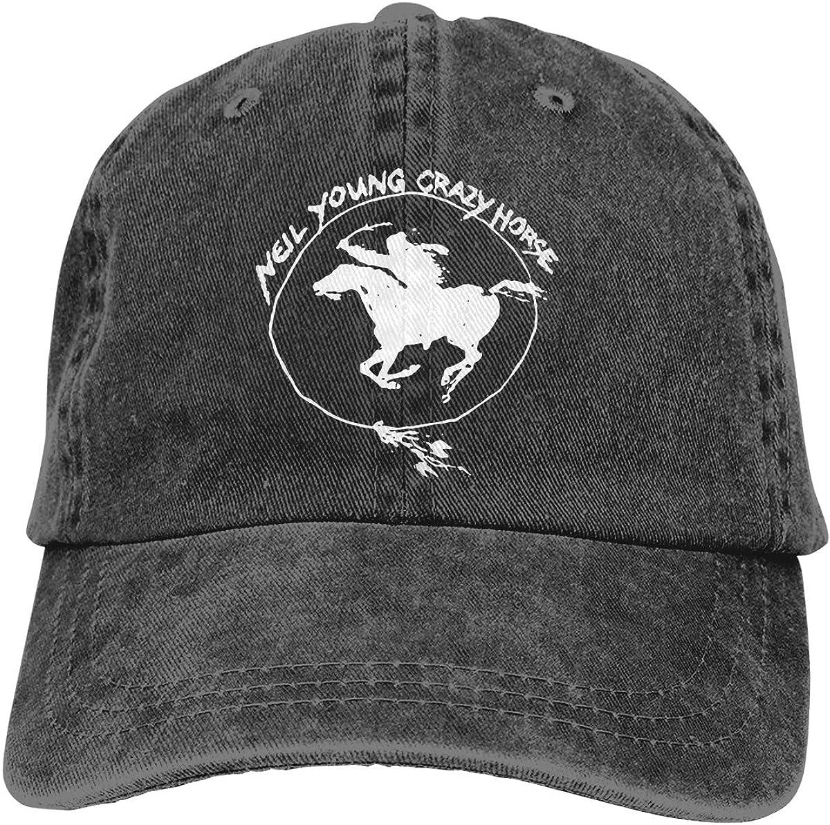 Neil Young Crazy Horse Printed Denim Hat Adjustable Vintage Baseball Hats Denim Casquette for Men Women Black