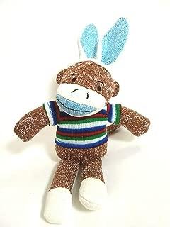 Dan Dee Easter Bunny Sock Monkey Rabbit Ears Plush Stuffed Animal