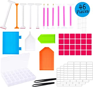 Whaline 46 Pieces Diamond Painting Tools 5D DIY Diamond Painting Accessories Diamond Cross Stitch Tool Kits for Adults or Kids