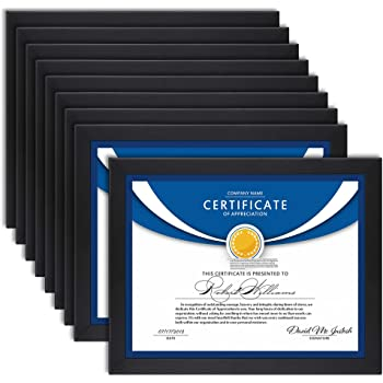 Icona Bay 8.5x11 Diploma Frames (Black, 12 Pack), Sturdy Wood Composite Certificate Frame, Sleek Document Frame Bulk, Table Top or Wall Mount, Exclusives Collection