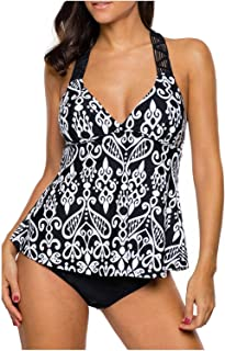 Wetopkim Women V Neck Racerback Tankini Swimsuit Foral Printed Tankini Top Wirefree