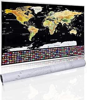 Mapa Rascar Para Viajar de Mapamundi Viajero del Mundo Decorar Pared Registra tus Aventuras con Bandera Nacional, Mejor Regalo Para Viajeros y Registro de Viajes con Gratis Rascador 82 x 59 cm