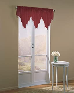 Easy Care Fabrics 2-Piece Sheer Voile Beaded Valance, 40 by 24-Inch, Burgundy