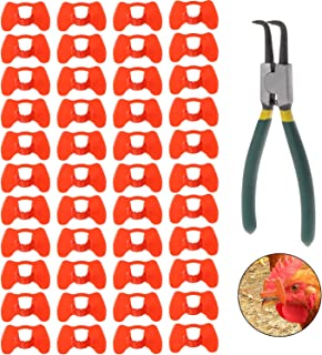 Lainrrew 41 Pcs Pinless Peepers with Pliers Set, Poultry Blinders Chicken Peepers Chicken Spectacles Anti-Pecking Pheasant...