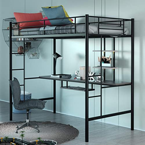 wholesale Giantex Metal Loft Bed Frame, Twin Size 2021 Bunk Bed with Bilateral Ladders, Guardrails, Desk and Bookcase, Space-Saving Loft high quality Bed with Keyboard Tray for Boys & Girls Teens (Twin, Black) outlet online sale