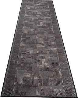 Tapiso Antid/érapant Tapis de Couloir Cuisine Entr/ée Design Moderne Gris Su/ède Mouchet/é Fin Poil Court 67 x 100 cm