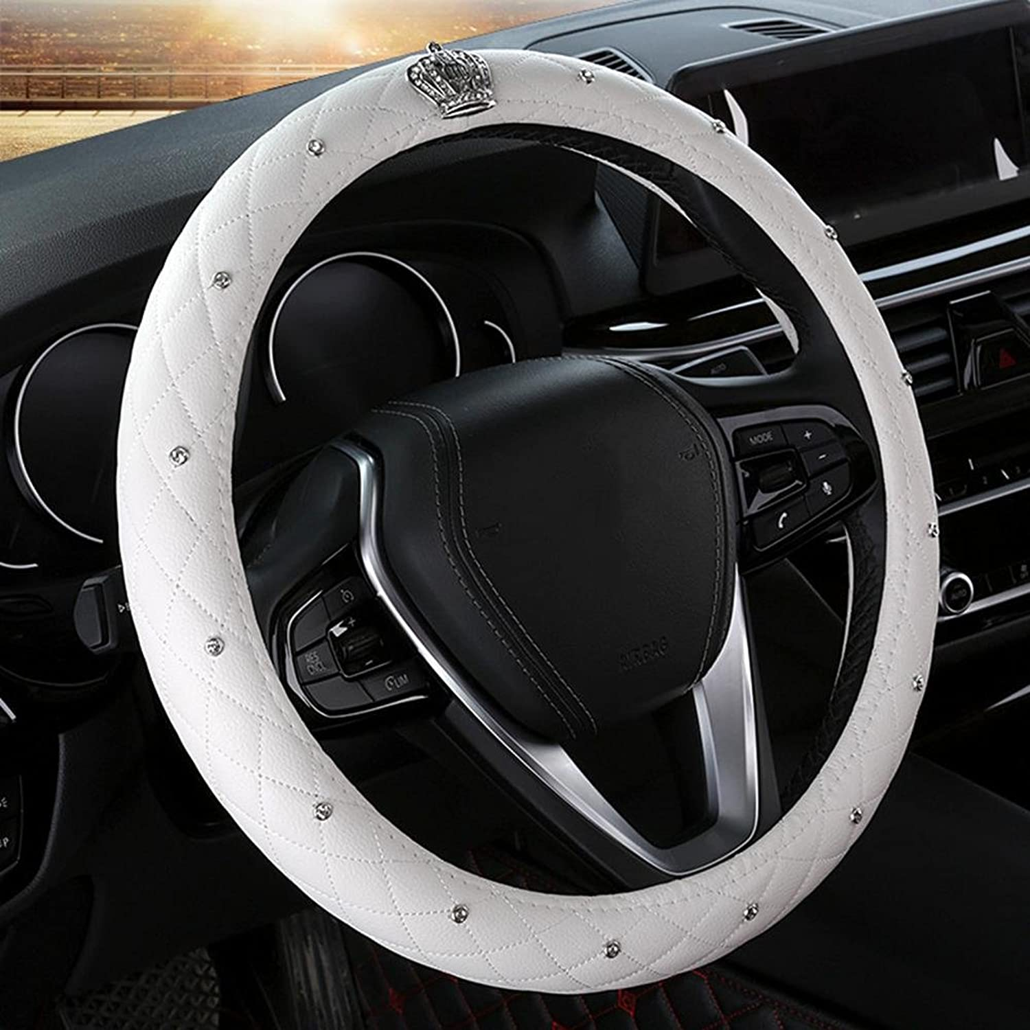 Auto Accessories 2018 Car Steering Wheel Predector, Woman Dedicated Cover Universal 141 2151 8 inch (3738.5 cm), Durable, Breathable, Anti Slip, No Smell, White, 38cm