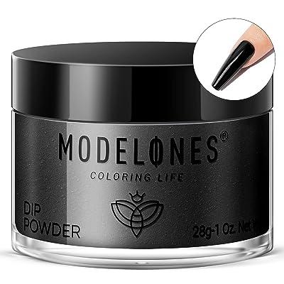 Modelones Dip Powder Black Color, Nail Dipping Powder