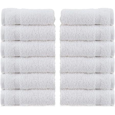 WhiteClassic Luxury Cotton Washcloths - Large Hotel Spa Bathroom Face Towel | 12 Pack | White