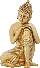 ShalinIndia Religious Items Buddhist Decor Brass Metal Art Thinking Buddha Statue Indian 7.5 inch 2.2 Kg