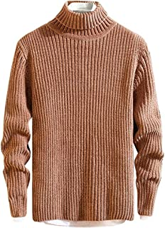 Fanybin for Men in Autumn Winter High Collar Pure Color Knitted Sweater Turtleneck Sweaters Pullover Blouse Shirts