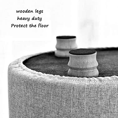 lyqqqq Ottomans Solid Wood Simple Modern Living Room Footstool Sofa Stool Wooden Bench Ottoman Seat-4 Legs Detachable Linen S