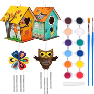 MEIEST DIY Wooden Bird House Wind Chime Kits,2021 New Wood Building and Painting Craft Kit,Kids Activities Crafts Hanging ...
