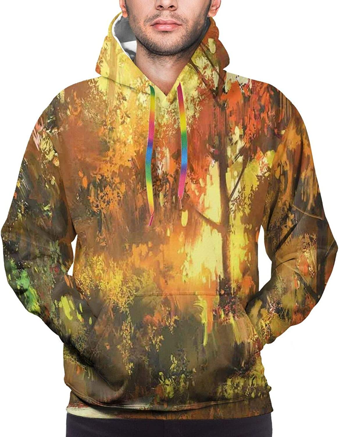 Men's Hoodies Sweatshirts,Pathway in Autumn Forest with Shady Leaf of Deciduous Trees View