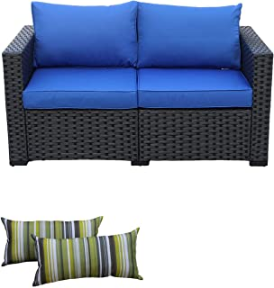 Patio Wicker Furniture Outdoor Garden Love Seat Chair Couch Sofa Black with Blue Cushion