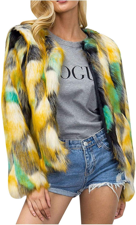 HGWXX7 Womens Cardigans Plus Size Multicolor Faux Fur Jacket Open Front Long Sleeve Oversized Winter Coats Crop Tops Yellow