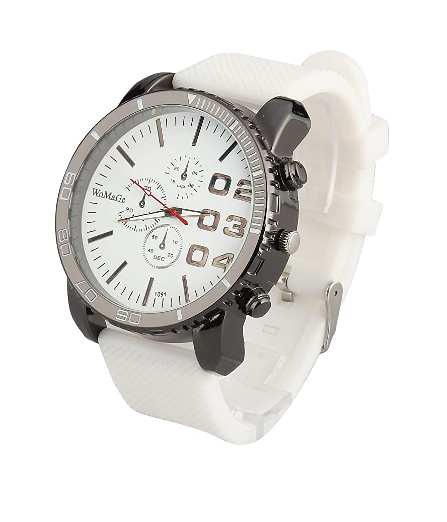 ShoppeWatch Mens White Wrist Watch 50mm Big Face White Band Unisex Reloj para Hombre SW1091WH gbdv9082653307