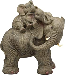Ebros Wildlife Elephant Father and 2 Calves On Piggyback Playing Statue 10.5