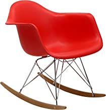Modway Rocker Mid-Century Modern Molded Plastic Living Room Lounge Chair Rocker in Red