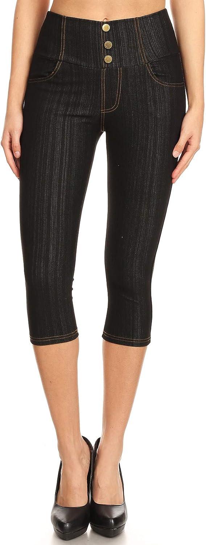 Women's High Waist Stretch Skinny Soft Denim Capri Jegging Pant Reg-Plus Size