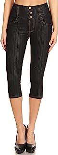 Women's High Waist Stretch Skinny Soft Denim Capri Jeggings Reg-Plus Size