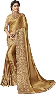 Monika Silk Mill Women's Latest Rich Golden Color Silk Embroidered Saree