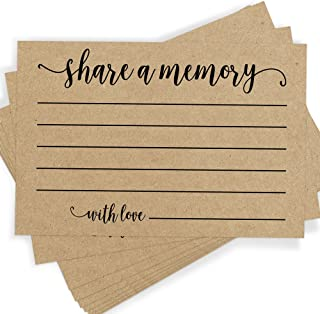 Share a Memory Card, Set of 25 Rustic Kraft Cards and Sign, Celebration of Life, Birthday, Wedding, Anniversary, and Retirement, Guest Book Ideas and Alternatives