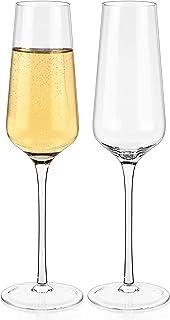Luxbe シャンパンクリスタルフルートグラス 2個セット モダンでエレガントなスパークリングワイングラス 手吹き風 結婚式 記念日 クリスマス 12オンス 350ml