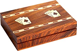 W Weblytech Handmade Wooden Playing Card Holder Box - Fit Card Size Upto: 3.8 X 2.8 Inches Store 2 Pack of Cards