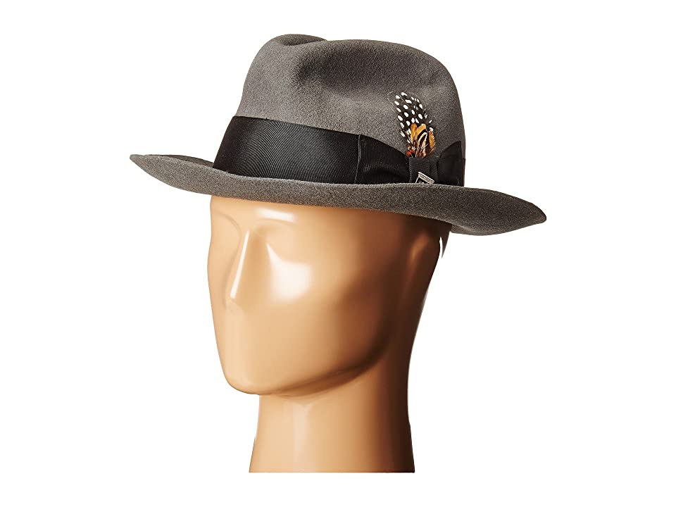 6c10bfceae4 1940s Mens Hat Styles and History Stacy Adams Wool Felt Fedora w Grosgrain  Band Grey Fedora