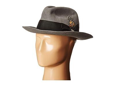 Stacy Adams Wool Felt Fedora w/ Grosgrain Band (Grey) Fedora Hats