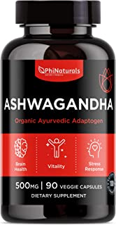 Ashwagandha Root Powder 500mg Capsules – [90 Count] 100% Organic Ashwagandha Extract – for Anxiety and Stress Relief | Cortisol and Mood | Adrenal & Immune Support | Herbal Supplement – Made in USA