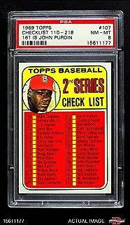 1969 Topps # 107 JOH Checklist 2 Bob Gibson (Baseball Card) (CORRECTED HALL-OF-FAME VARIATION (#161 John Purdin)) PSA 8 - NM/MT