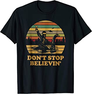 Bigfoot riding Loch Ness Monster don't stop believing vintag