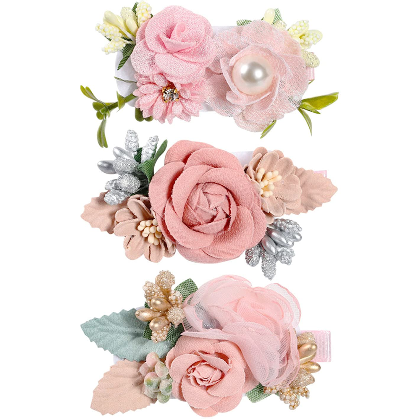 Girls Flower Hair Clips Set 3pcs Flower Hair Bows Clips Accessories for Baby Girl Toddles Teen Gifts (Hiar clips set 1)