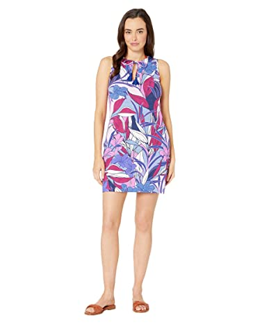 Tommy Bahama Linework Leaves Split-Neck Spa Dress Cover-Up (Blue Monday) Women