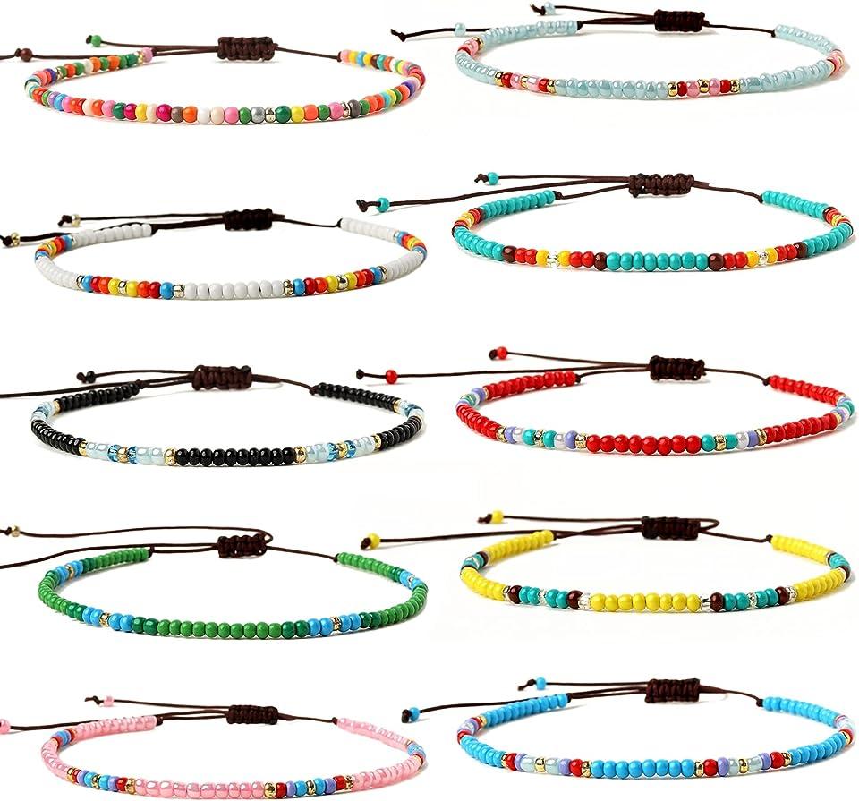 XIJIN 8Pcs Handmade Beaded Anklets for Women Girls Boho Colorful Beads Ankle Bracelets Adjustable Foot Anklet Set