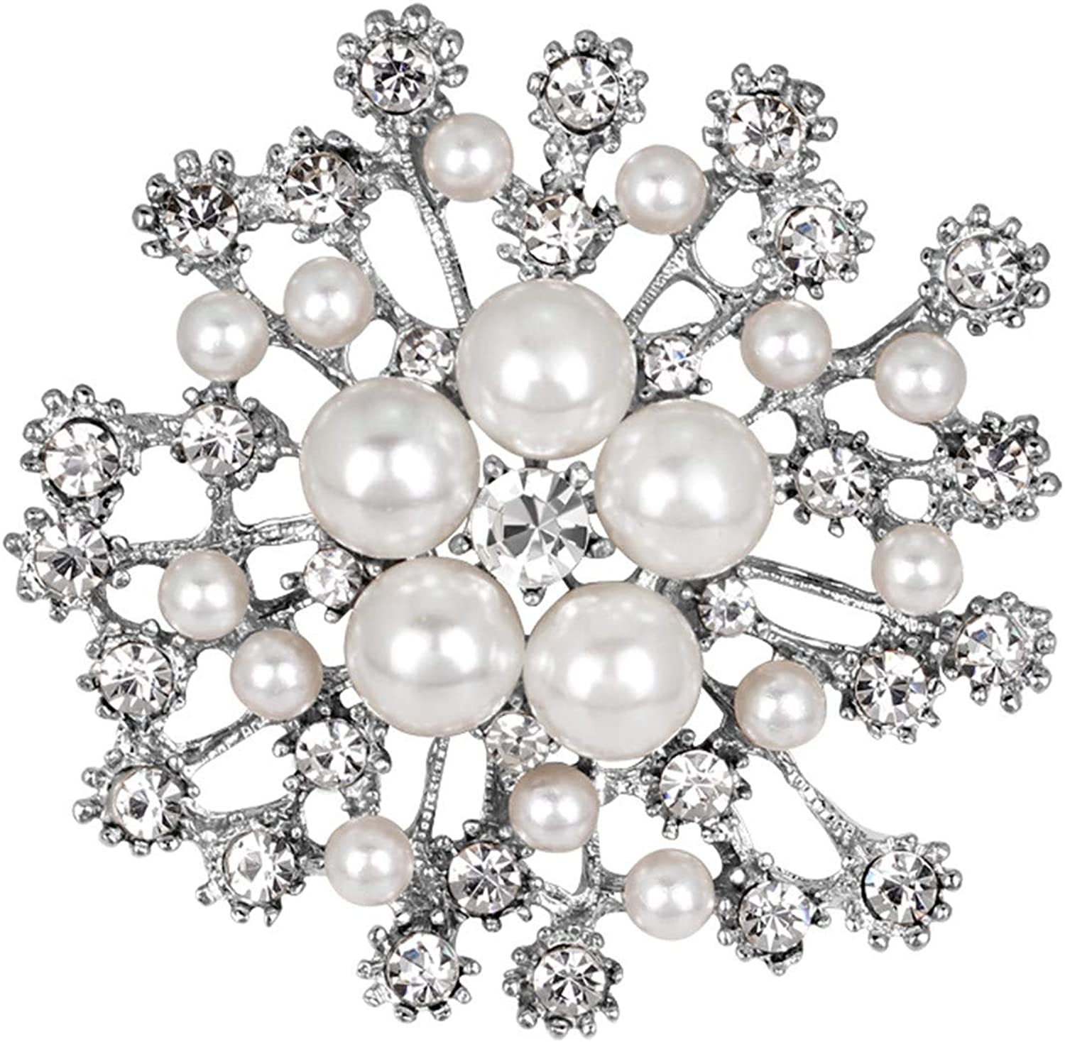 Tennessee526 Ladies Snowflake Faux Year-end gift Pearl New Free Shipping Decor Brooch Rhinestone