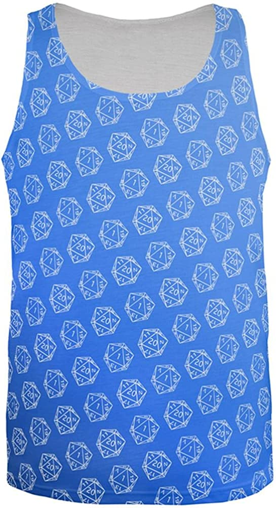 Old Glory D20 Gamer Critical Hit and Fumble Blue Pattern All Over Mens Tank Top