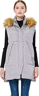 Women's Winter Long Down Vest with Faux Fur Trimmed Hood Casual Zip up