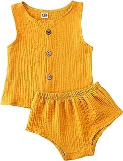 Bebé Recién Nacido 2 Piezas Traje de Ropa Verano Camiseta sin Manga con Cuello Redondo y Botones Pantalones Cortos Set Top Camisa Braguita de Color Sólido para Niña Pequeña