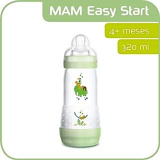 MAM Easy Start Anti-Colic, Biberón Anticólicos con Base de Ventilación, Autoesterilizable con Tetina nº 3 de Silicona Extrasuave, 4+ meses, Verde, 320 ml