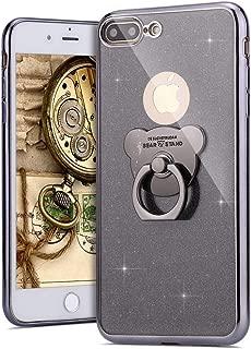 MoreChioce Funda iPhone 7 Plus,Carcasa iPhone 8 Plus Silicona, TPU Silicona Glitter Espejo Backcover [Anti Rasguños][Anti Choque] Protectora Case para iPhone 7 Plus/8 Plus,Negro/Brillo