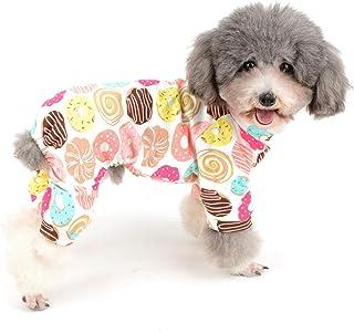 Zunea Kleine Hond Jumpsuit Pyjama Overalls Zachte Katoen Rompers Schattig Donut Gedrukt Puppy Slaapkleding Vier Benen Pjs ...