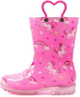 OUTEE Adorable Printed Lightweight Waterproof Rain Boots for Toddler and Kids
