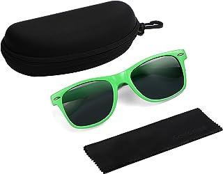 Komonee Drifter Ensemble de lunettes de soleil avec étui noir et chiffon de nettoyage Style rétro classique Protection UV4...