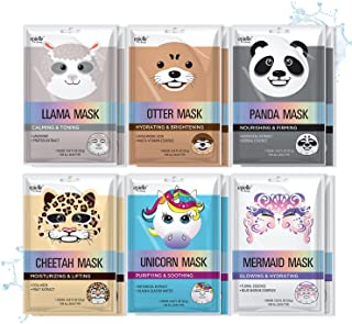 Epielle Character Sheet Masks | Animal Spa Mask Korean Beauty Mask -For All Skin Types, (Pack of 12) | Birthday Party Gift...