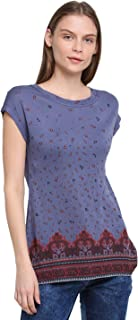 RUTE Cotton Jersey Half Sleeves Floral T-Shirts for Women