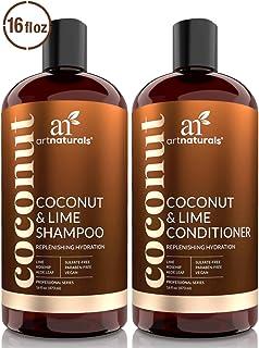 Juego de champú y acondicionador de coco y lima ArtNaturals (470ml x 2): restauran la hidratación prof...